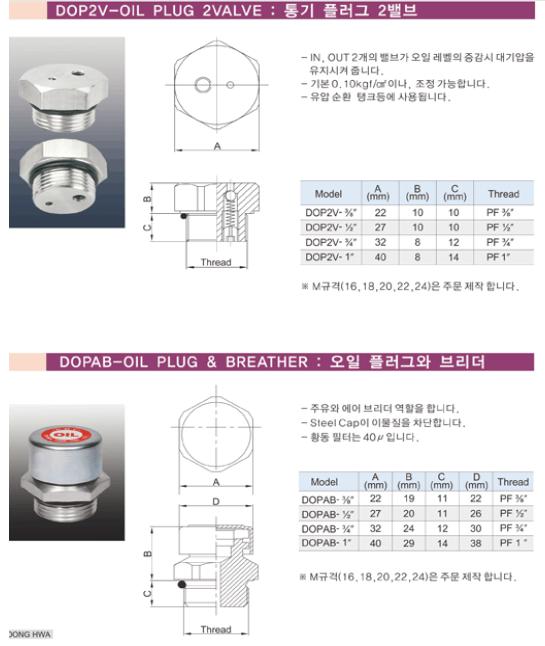 (주)동화기업 통기 플러그 2밸브 / 오일 플러그와 브리더 DOP2V, DOPAB
