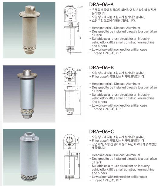 (주)동화기업 Return Line Filter DRA-06-A/B/C