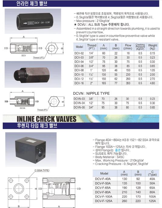 (주)동화기업 인라인 체크 밸브 / 후렌지 타입 체크 밸브 DCV, DCV-F