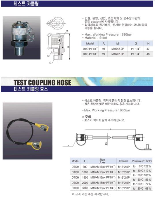 (주)동화기업 테스트 카플링 / 테스트 카플링 호스 DTC, DTCH