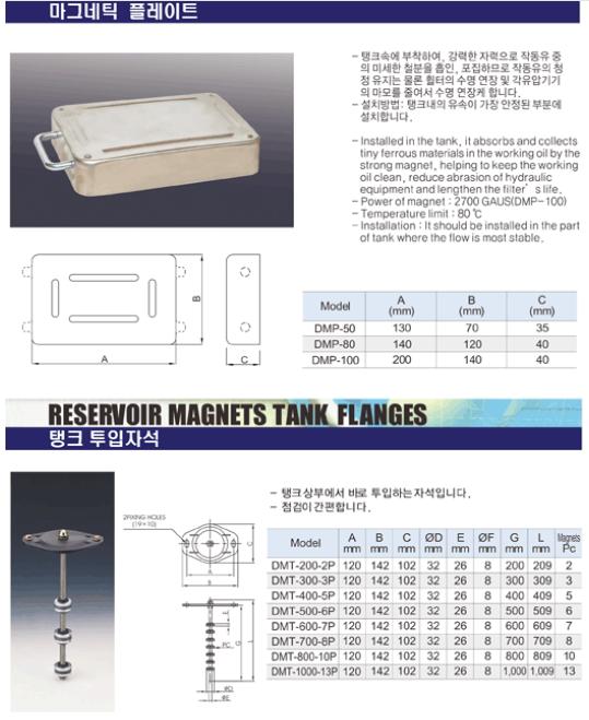 (주)동화기업 마그네틱 플레이트 / 탱크 투입자석 DMP, DMT
