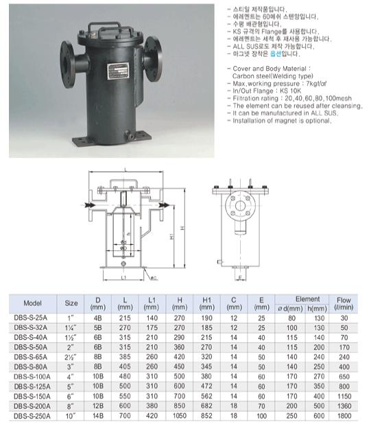 (주)동화기업 스트레너 DBS-S