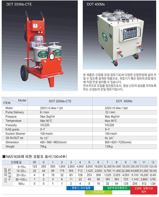 (주)동화기업 산업용 오일 정유기 DOT 200Ms-CTE/400Ms