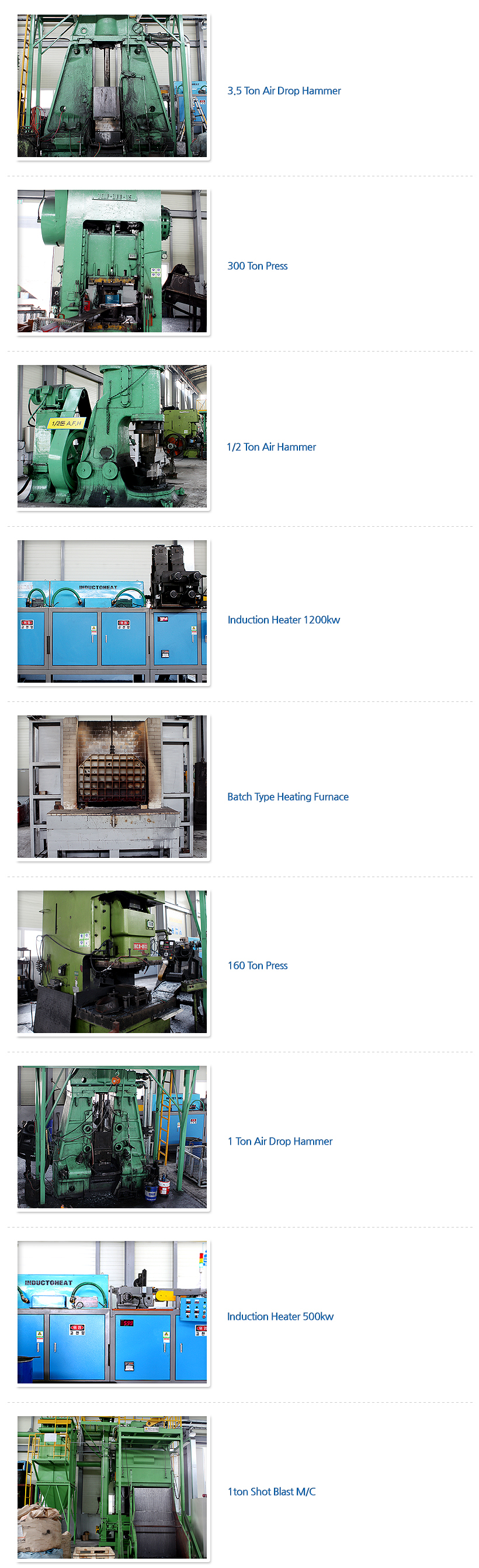 DAE HEUNG MACHINERY & FORGING - 생산 설비 Products