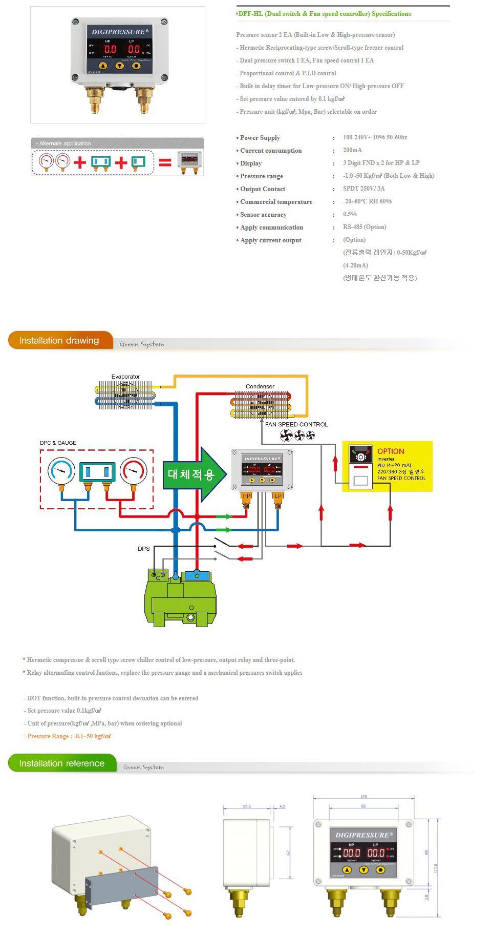 GREEN SYSTEM Dual switch & Fan speed controller DPF-HL