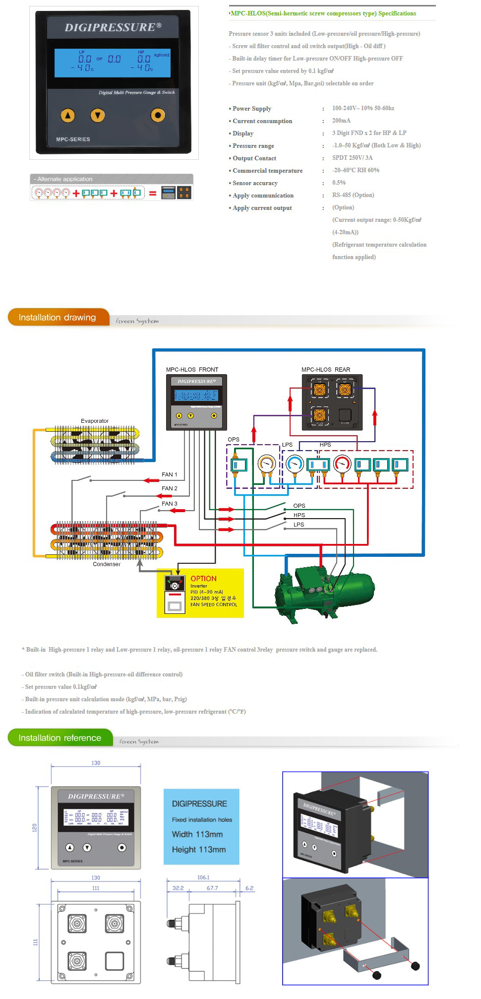 GREEN SYSTEM Semi-hermetic screw compressors type Digital Pressure MPC-HLOS