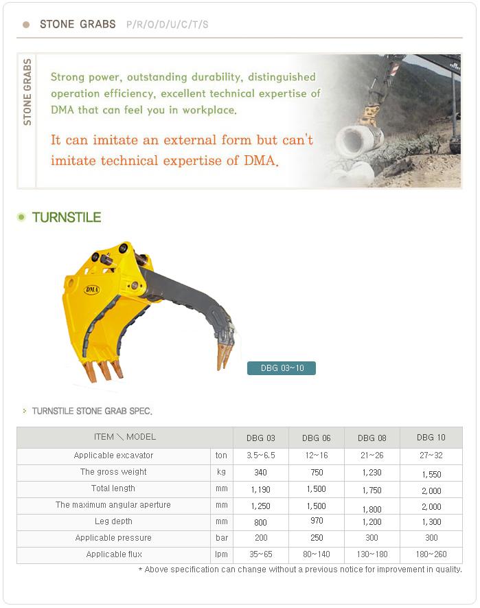 DMA Stone Bucket Grabs DBG 03~10