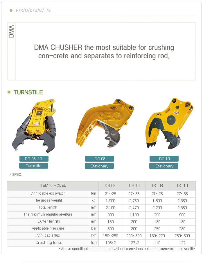 DMA Turnstile / Stationary Concrete Crusher DR 10&08 / DC 10&08