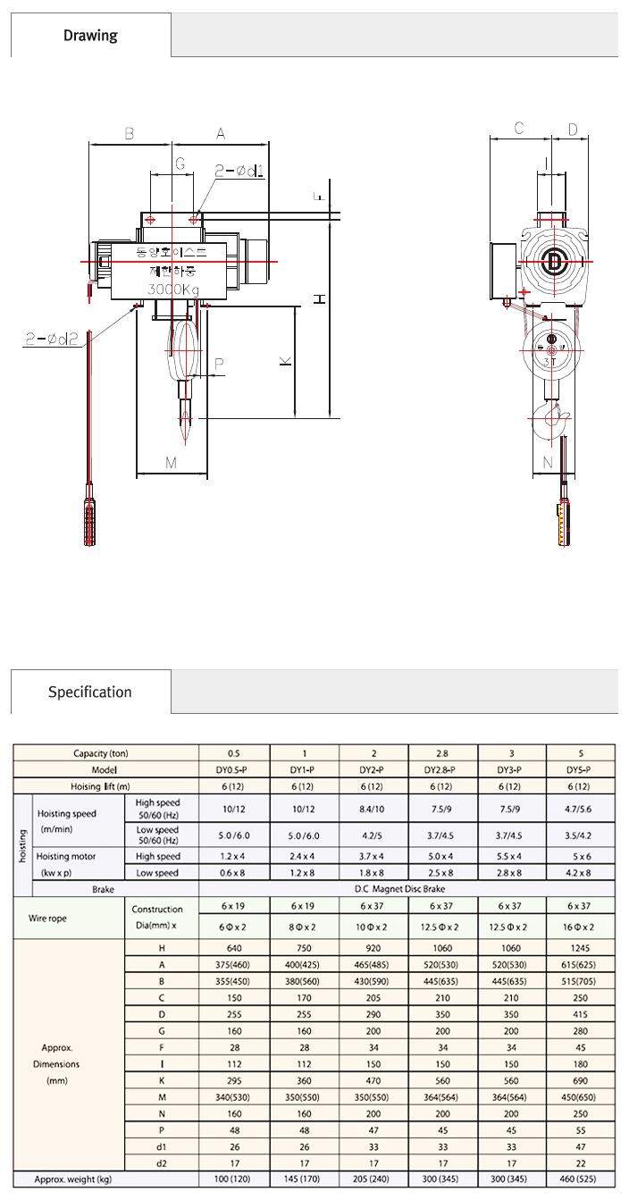 DONG YANG HOIST Suspension Type Hoist DY P Series