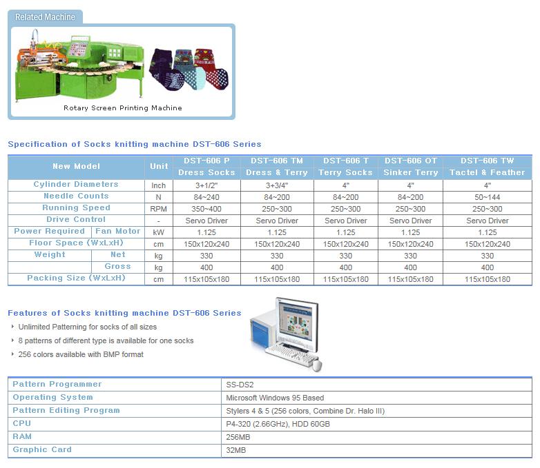 DONGSUNG Socks Knitting Machine DST-606 Series