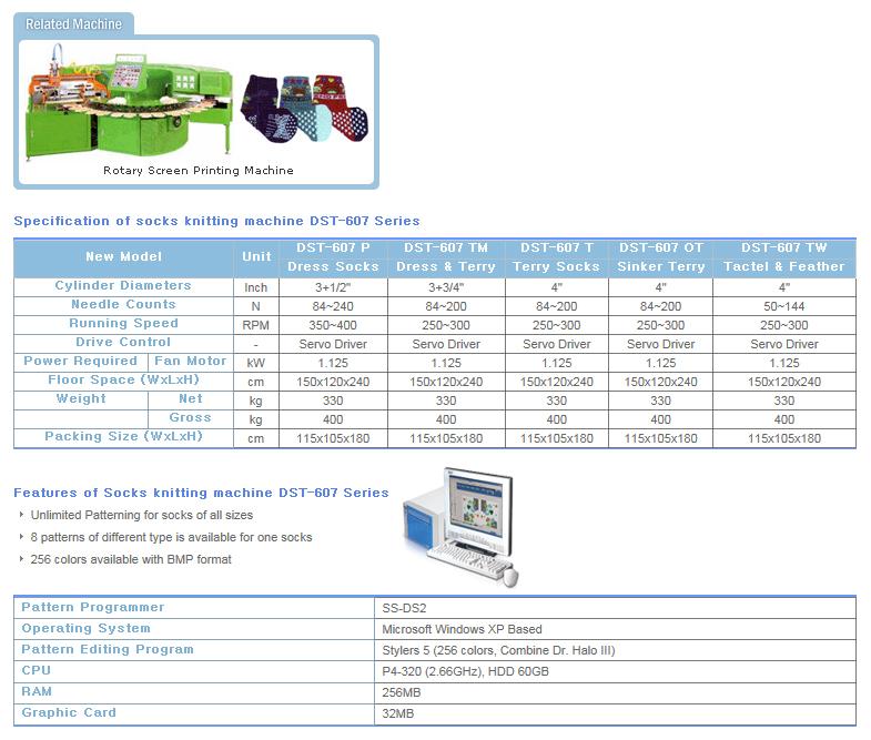 DONGSUNG Socks Knitting Machine DST-607 Series