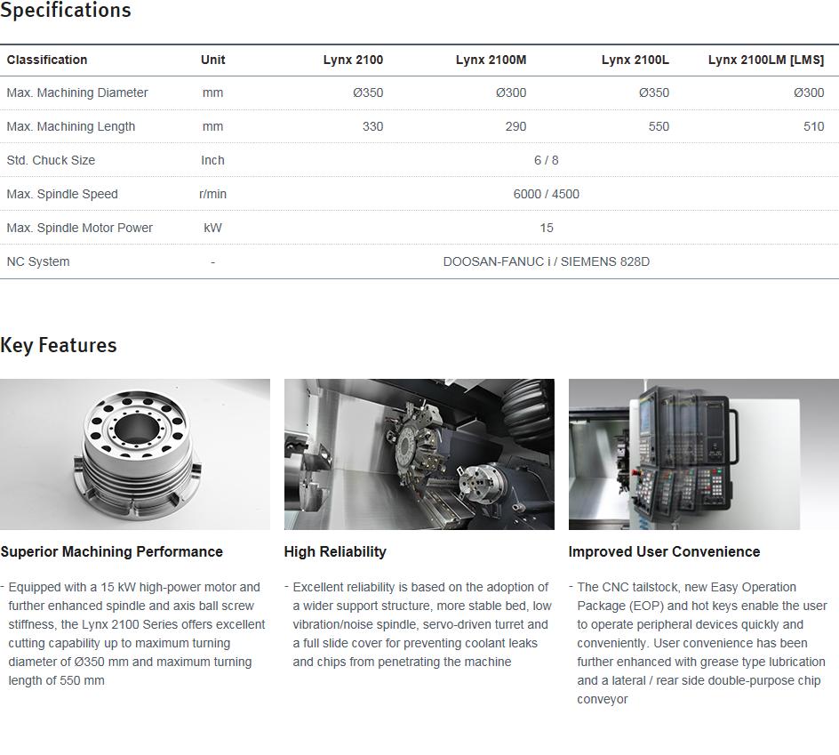 Doosan Machine Tools  Lynx 2100 Series