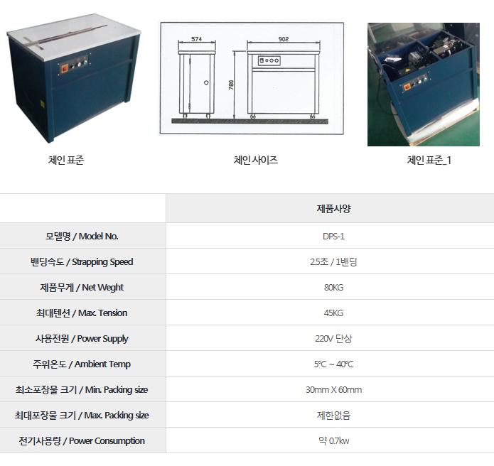 드림포장기계 체인 표준 DPS-1