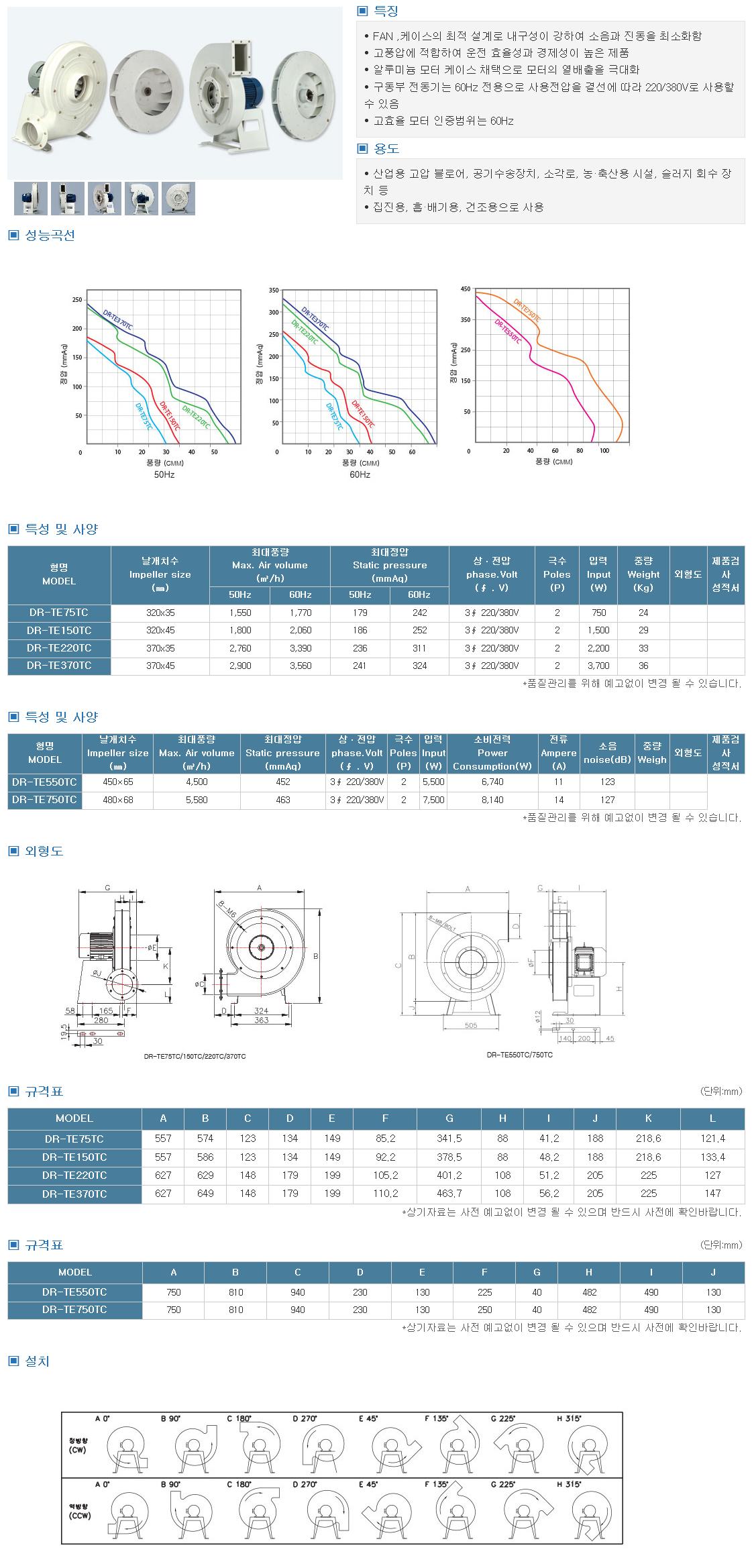 대륜산업 터보고압송풍기(고효율) DR-TETC Series