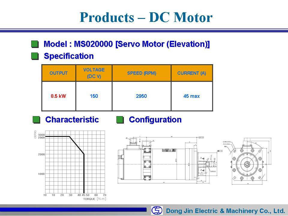 DongJin Electric&Machinery Servo Motor MS020000