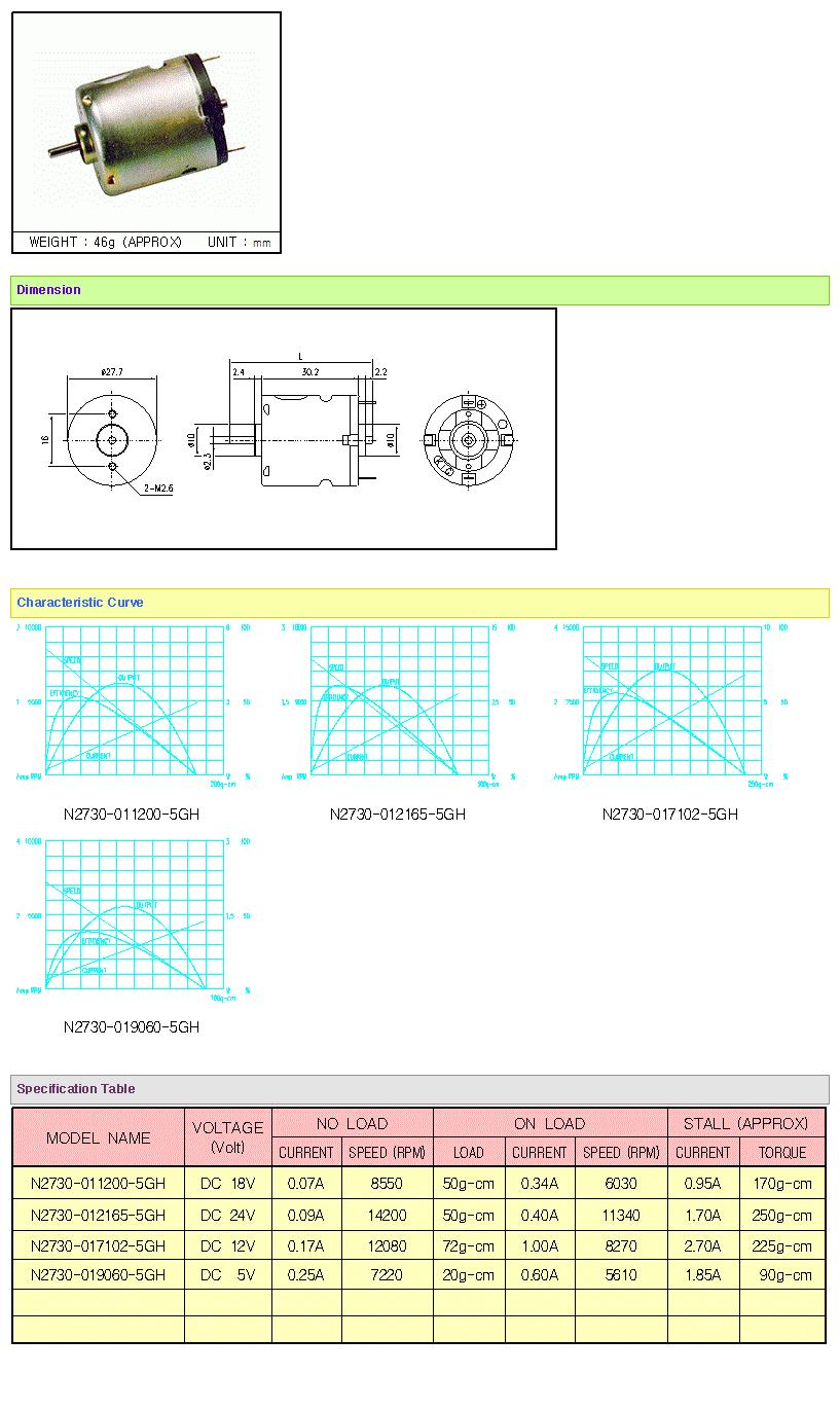 KOREA I.G Motor  N2730 Series