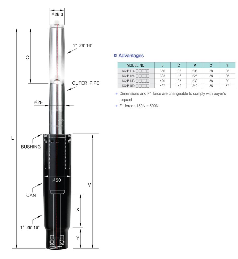 Korea Gas Spring Heavy duty Cylinder  1