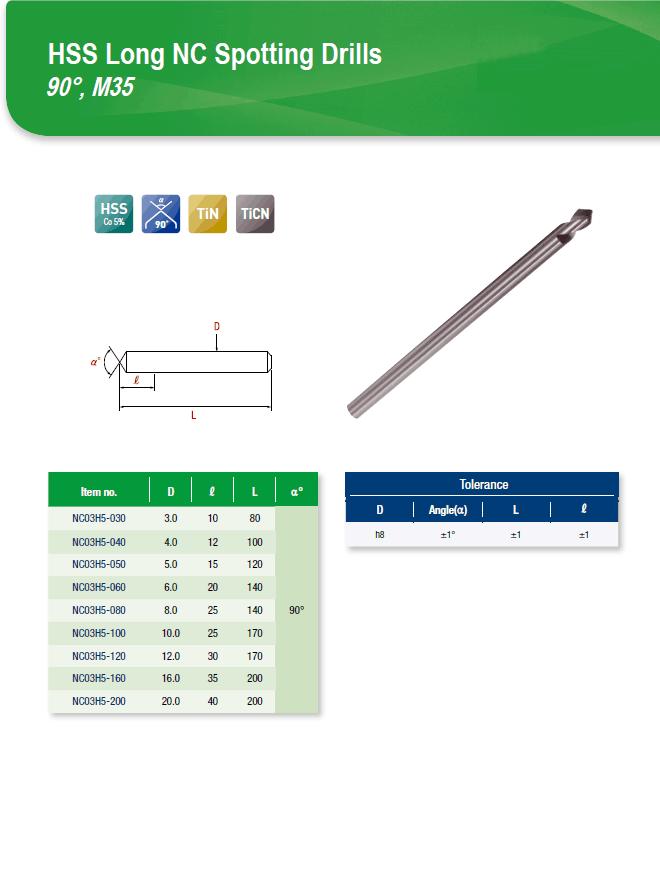 DYC Total Tools HSS Long NC Spotting Drills 90°, M35 NC03H5 Series