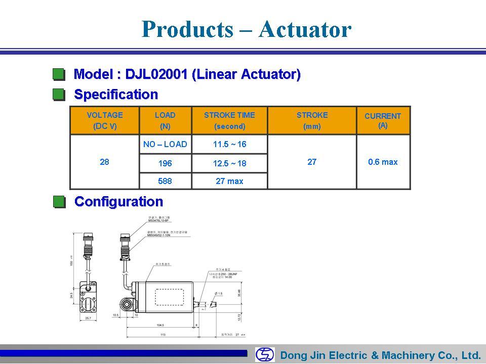 DongJin Electric&Machinery Linear Actuator DJL02001