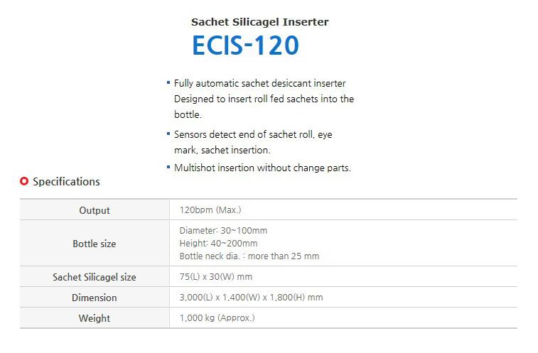 ECM Sachet Silicagel Inserter ECIS-120