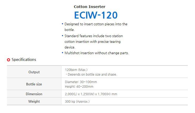 ECM Cotton Inserter ECIW-120