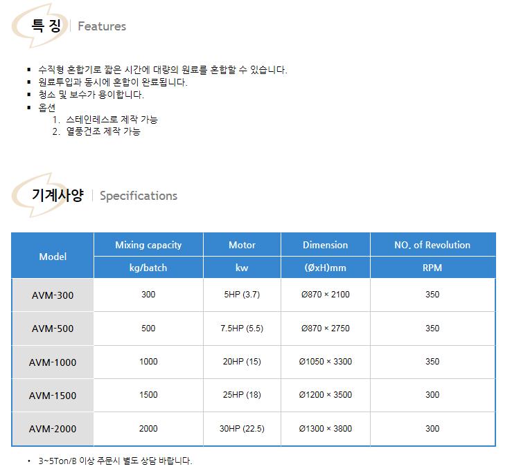 (주)대흥뉴테크 버티칼 믹서 AVM Series