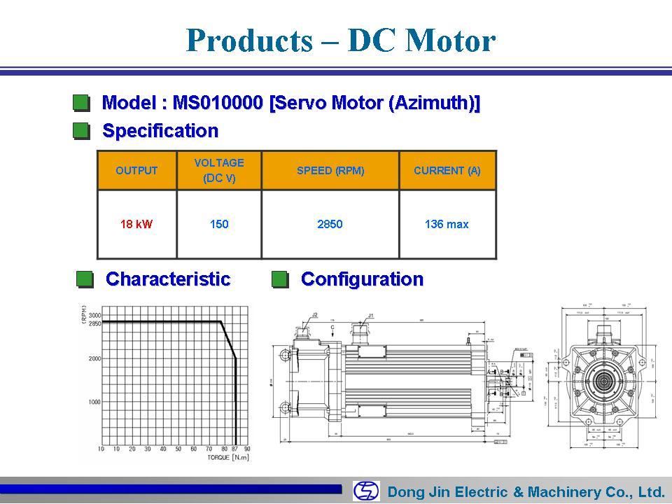DongJin Electric&Machinery Servo Motor MS010000