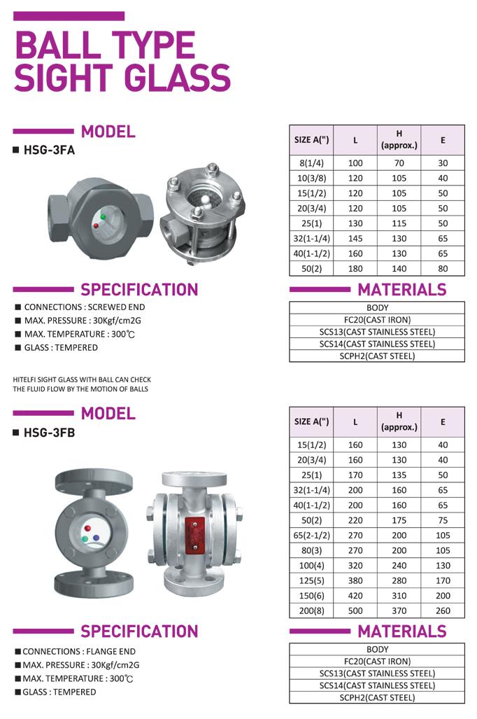 HITELFI Ball Type HSG-3FA/3FB