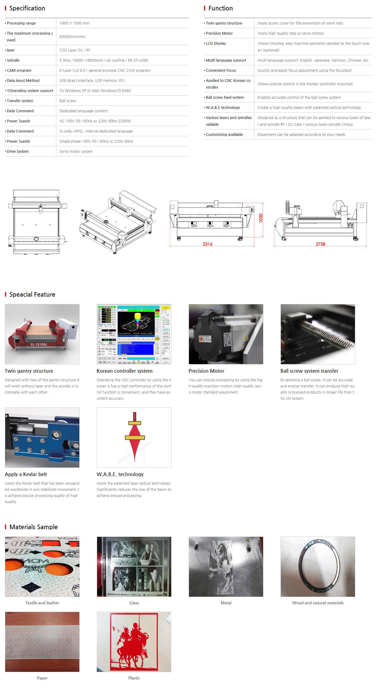 E-LASER Laser + CNC complex EL-1810 GL