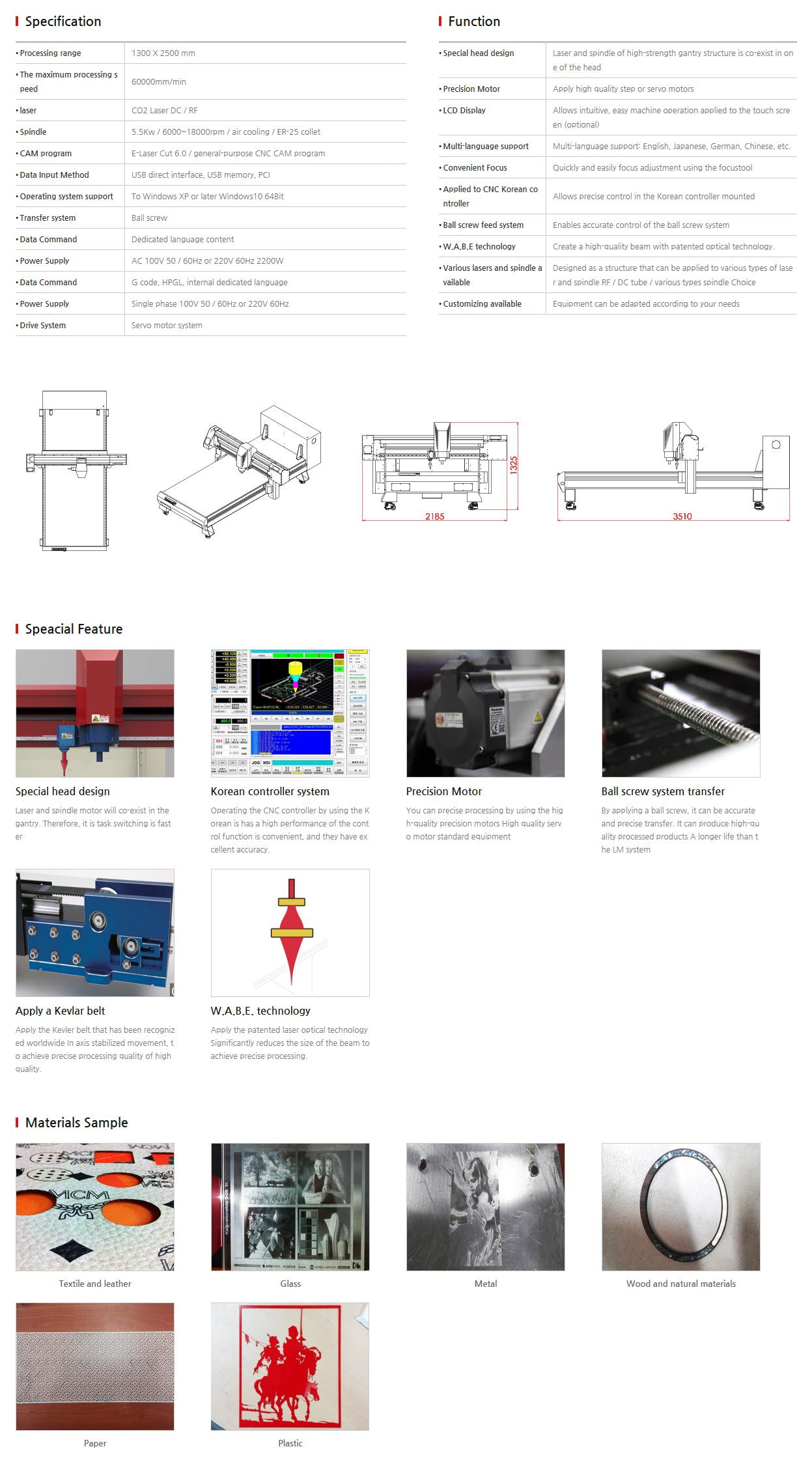 E-LASER Laser + CNC complex EL-1325 GL