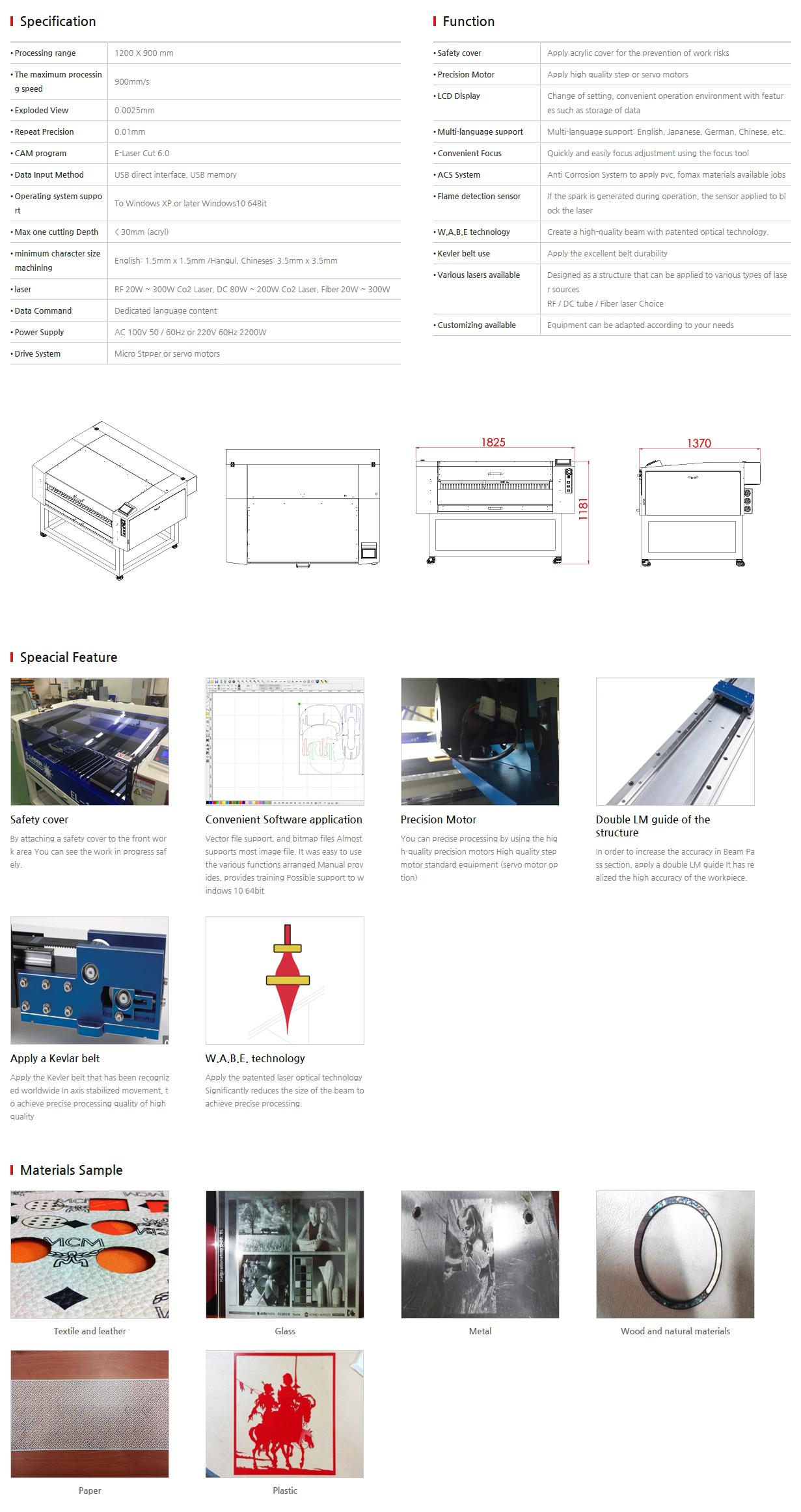E-LASER Laser Cutting (Only non-metal) EL-1290 LK