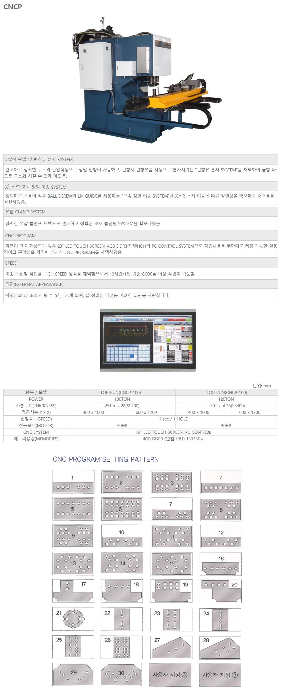(주)엔하이코리아 자동 펀칭기 CNCP-100