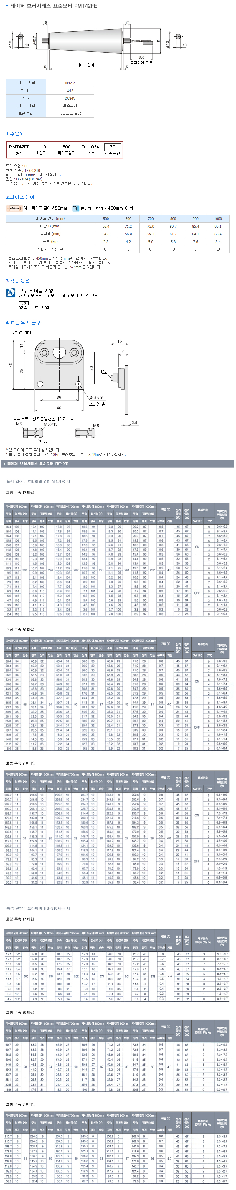 (주)은현산업 테이퍼 브러시레스 표준모터 PMT42FE