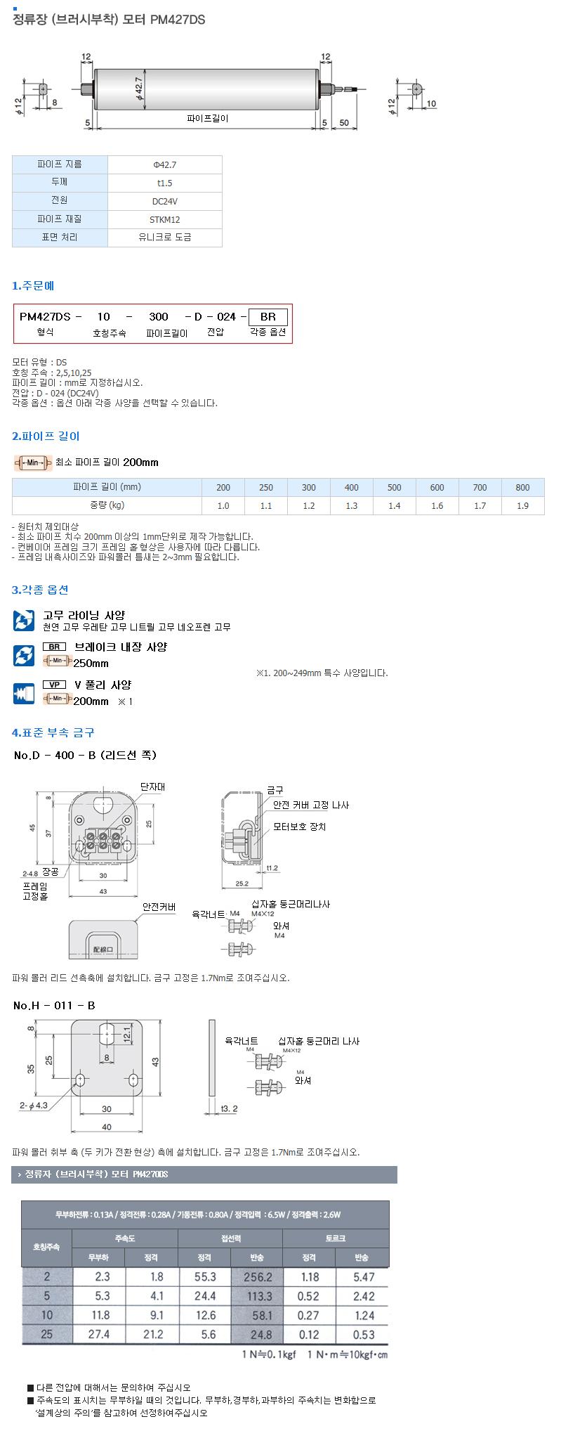 (주)은현산업 정류장 (브러시부착) 모터 PM427DS