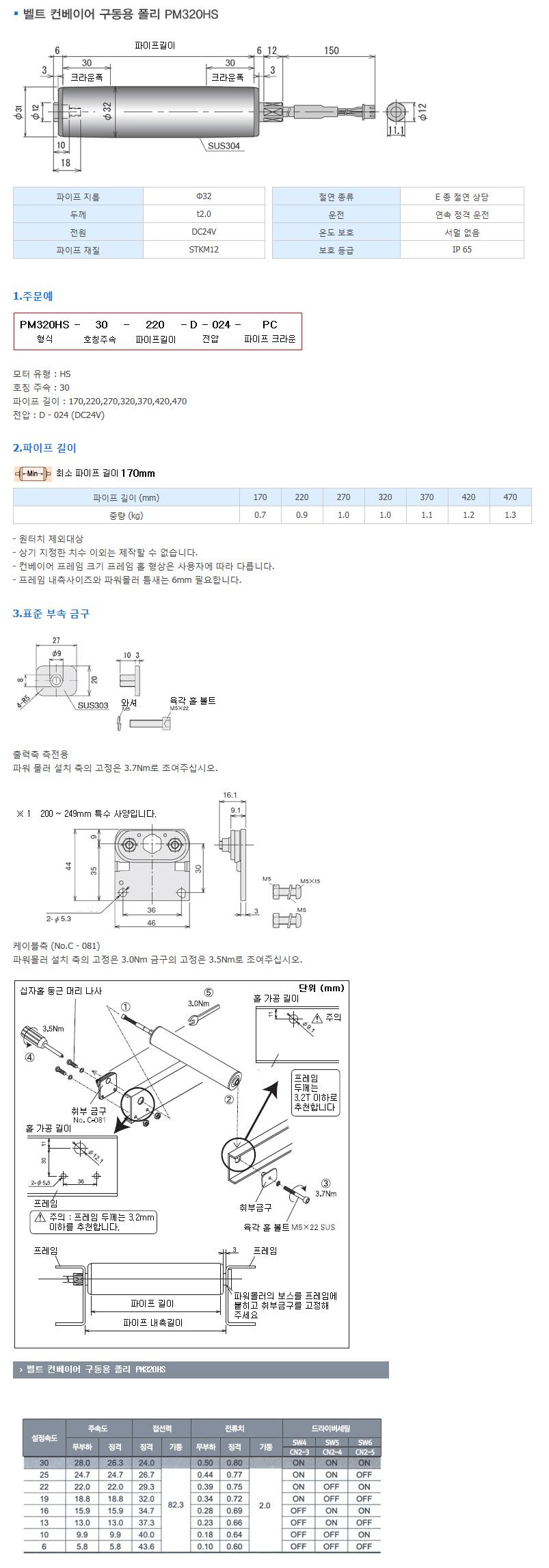 (주)은현산업 벨트 컨베이어 구동용 폴리 PM320HS