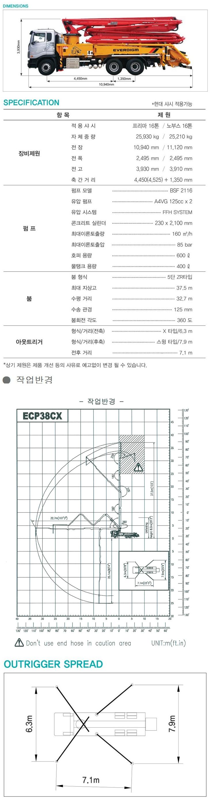 에버다임 38m 붐 펌프카 38CX-5