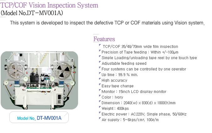 Dynatech TCP/COF Vision Inspection System DT-MV001A