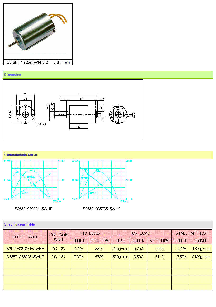 KOREA I.G Motor  S3657 Series A