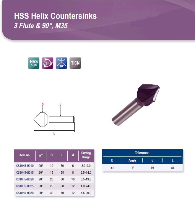 DYC Total Tools HSS Helix Countersinks 3 Flute & 90°, M35 CS10H5 Series