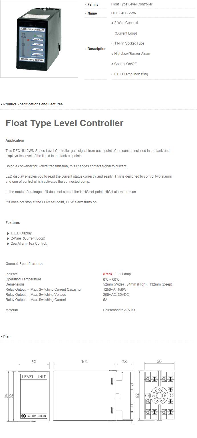 Daehan Sensor Float Type Level Controller DFC-4U-2WN