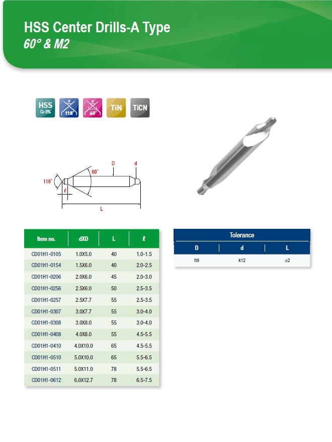 DYC Total Tools HSS Center Drills-A Type 60° & M2 CD01H1 Series