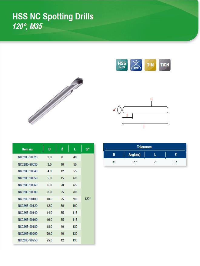 DYC Total Tools HSS NC Spotting Drills 120°, M35 NC02H5 Series