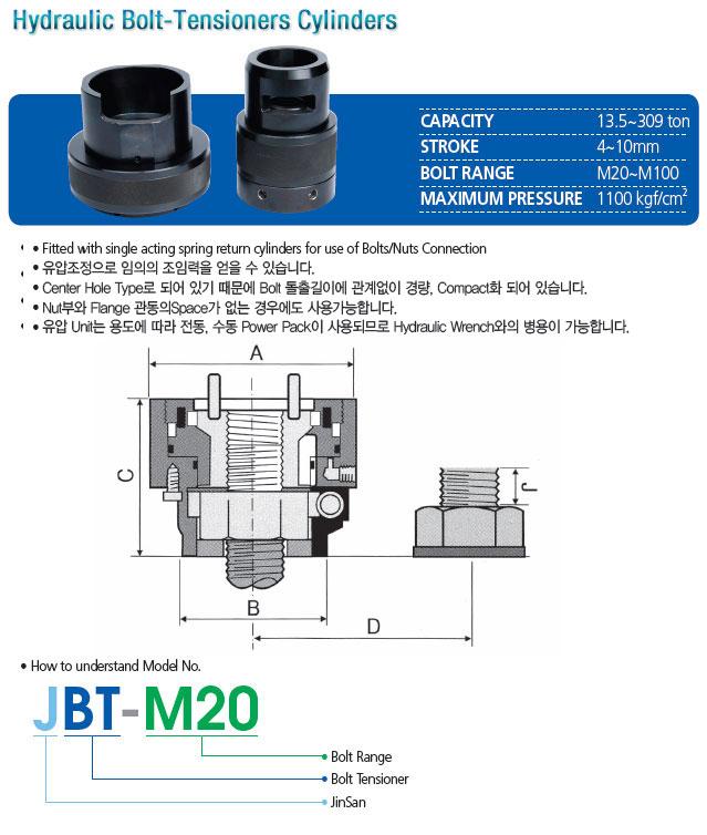 진산유압 Hydraulic Bolt-Tensioners Cylinders JBT-M20 1
