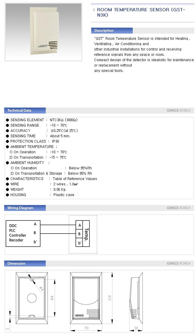 GINICE Room Temperature Sensor GST-Series 2