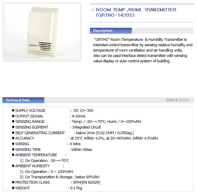 GINICE Room Temp. / Humi. Transmitter GSTH/GRTHO-Series 6