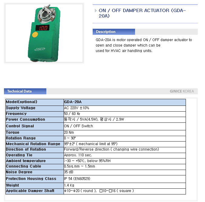 GINICE ON-OFF Damper Actuator GDA-Series 1