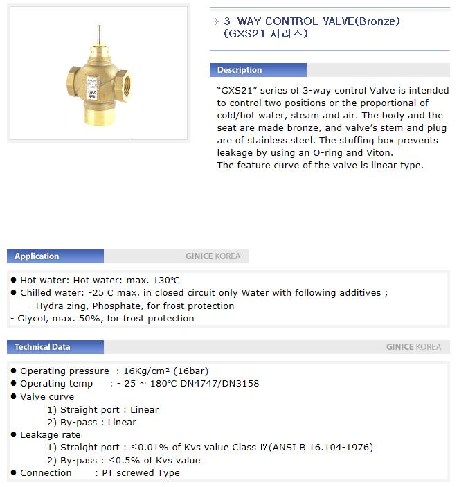 GINICE 3-Way Control Valve (Bronze) GXS21-Series