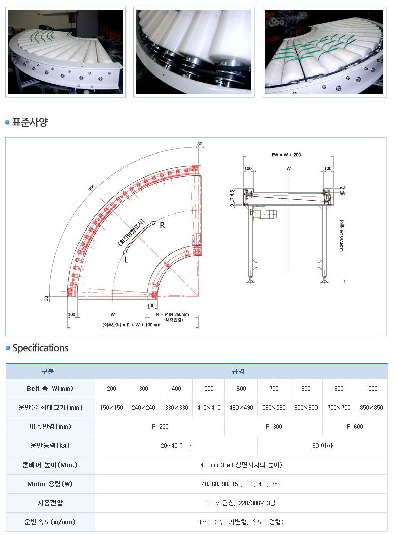 금강포장기계 Round 벨트 콘베이어