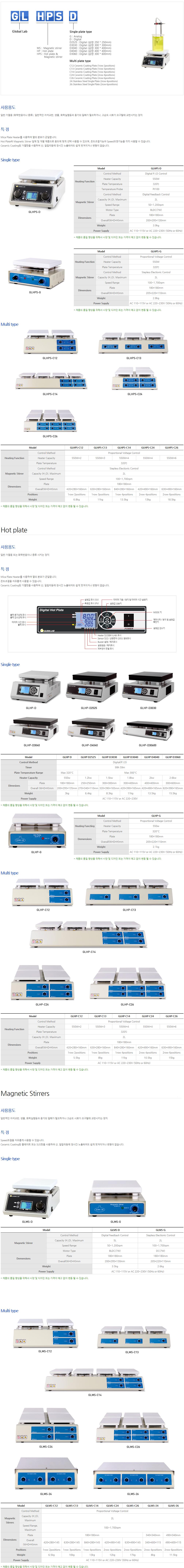 (주)글로벌랩 Hot plate & Magnetic Stirrers