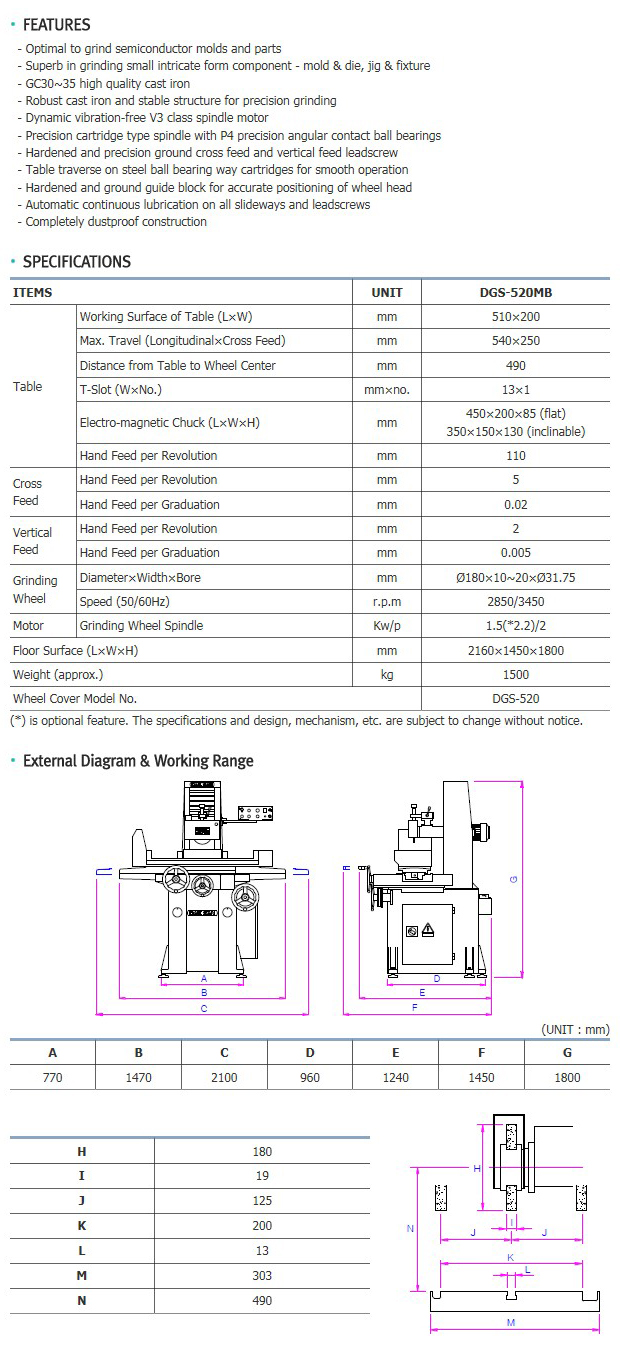 DAESAN MACHINERY High Precision Surface Grinder (DGS-520 Series) DGS-520MB